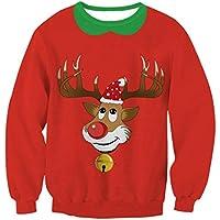 FOOBRTOPOO Novedad Navidad Mujeres Sudadera de Navidad Elk Impreso Pullover Cuello Redondo Outwear Tops Otoño Invierno Manga Larga O-Cuello Sport Jumpers Blusa -S (Color : Red2, tamaño : S)