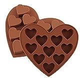 dingsheng Süßes Kirschmotiv Silikon 10Herzen Shaped Ice Lattice Pudding Schokolade Candy Kuchen, handgefertigte Seife DIY Formen