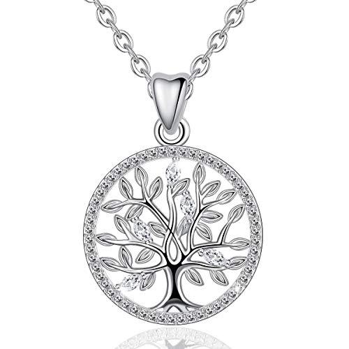 EUDORA Baum des Lebens Kette S925 Sterling Silber Schmuck Halsketten für Frauen, Bestes Geschenk für Damen Tochter Liebhaber Schwester, 45,7 cm Kette - Silber Armband Lehrer