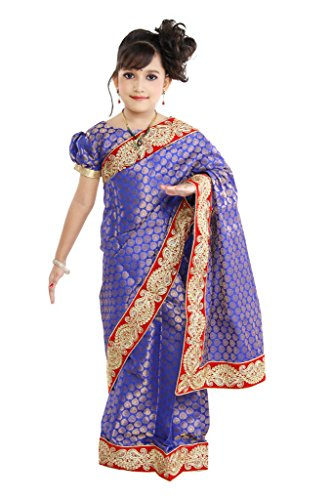 Pratima Girl's Fashionable Chanderi Royal Blue Ready to wear Pre-stitched Saree