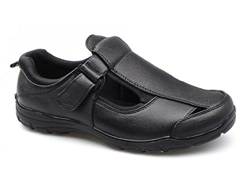Dr Passform Sandálias Ampla Justin Homens Preto Keller Velcro YrY51Tnqwx