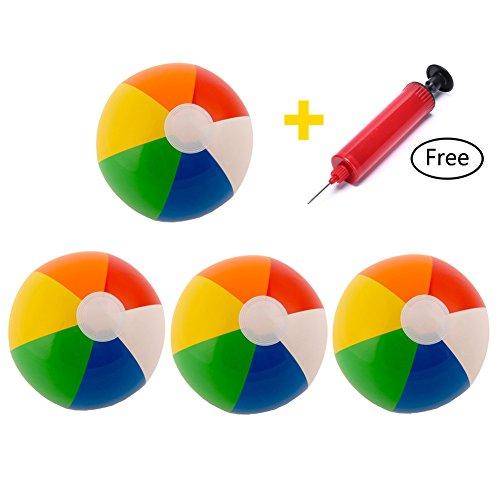haishell 4PCS Beach Pool Ball aufblasbar zersetzung Air Stress Wasser Bildungs-Spielzeug für Kinder Water Fun Play im Sommer (Durchmesser 22,9cm) mit einem gratis Mini Kompressor (zufällige Farbe)