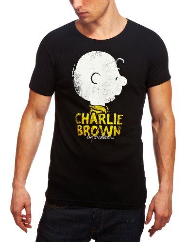 Logoshirt Herren T-Shirt PeanutsCharlieBrownNameBlack Logo, Rundkragen, Schwarz, S (Snoopy Kostüm)