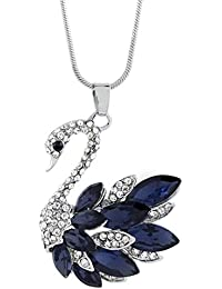The Jewelbox Swan Blue Crystal Pearl CZ American Diamond Long Chain Necklace For Girls Women