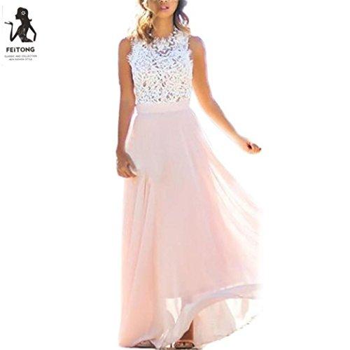 Brezeh elegantes Sommerkleid für Damen, sexy Spitzen-Strandkleid L rose (Rose Kleid)