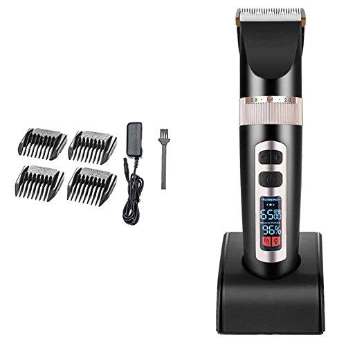 QJHP Herren Haarschneidemaschinen Wenig Lärm mit LCD-Display Friseur Verwenden Drei Geschwindigkeitseinstellung Professionell Wiederaufladbar Friseur Haarschneider A8