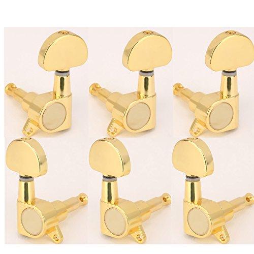Musiclily 3 +3 Tipo Cerrado Set de Clavijas de Afinación Clavijero de Repuesto para Guitarra, Botón de Media Luna Oro