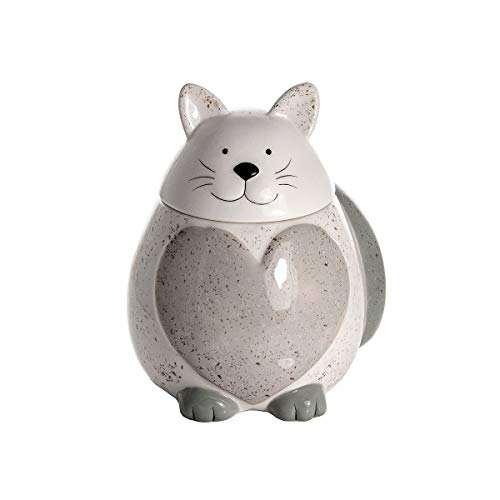 SPOTTED DOG GIFT COMPANY Keksdose aus Porzellan, groß Vorratsdose mit Deckel, Cookie Jar Katze und Herzform - Geschenkidee für Katzenliebhaber Katzenfreunde