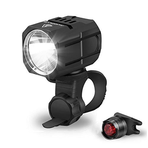 LED Fahrradbeleuchtung, superhell, AUOPLUS Fahrradlicht Set, wasserdicht, USB aufladbar Fahrradlampen Set inkl, LED Frontlicht, Rücklicht, USB Kabel, Halterung und Akku