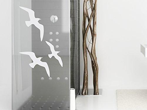 Glasdekor Folie Fensterdekor für Badezimmer Vögel Vogel Tiere Dusche Tür (49x30cm) (Dusche Nicht Glas Tür)