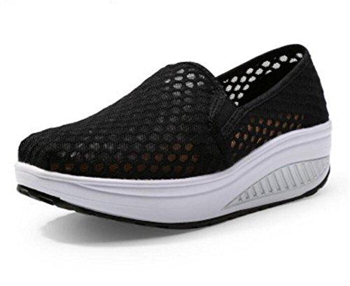 LDMB Women 's Wedge Heel Breathable Net Garn Komfortable Spitze Schütteln Outdoor Sport Casual Schuhe 1507-4 black