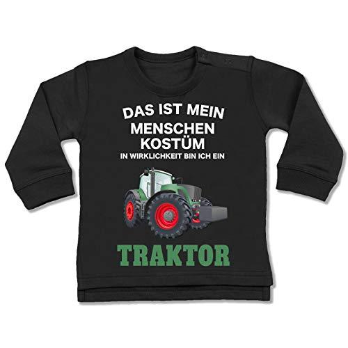 Shirtracer Karneval und Fasching Baby - Das ist Mein Menschen Kostüm in echt Bin ich EIN Traktor - 18-24 Monate - Schwarz - BZ31 - Baby Pullover