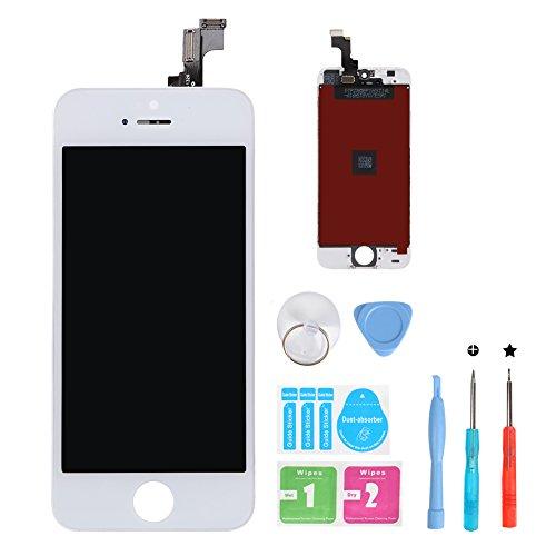 HSX_Z Ecran LCD Vitre Tactile pour iPhone 5S, Remplacement Retina Display Complet avec Outils de Réparation pour iPhone 5S Blanc