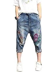 SaiDeng Mujer Casual Baggy Bordado Impresión Patrón Pantalones Vaqueros M