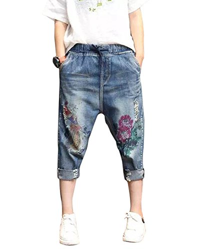 SaiDeng Donna Ricamato Roll-Up Sciolto Casual Coulisse Jeans Harem Pants L