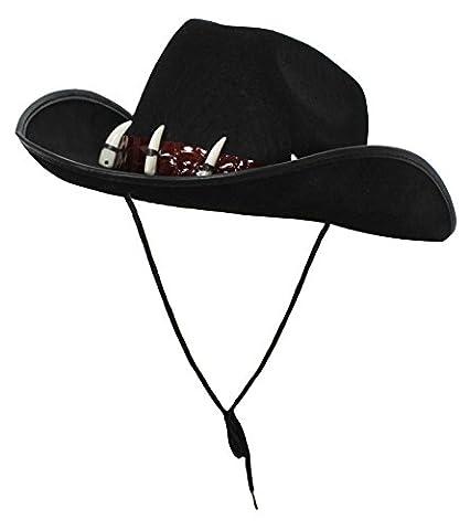 Australischer Hut, Outback-Kostüm, Zubehör für Krokodiljägerkostüm, schwarz mit falschen Zähnen (schwarz)–in Mehrfachpackungen (Australian Outback Kostüm)