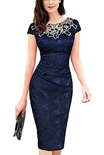 Whoinshop Damen Elegant Rose Rundhals Spitze Stitching Kleid Business Etui Partykleid Festkleid...