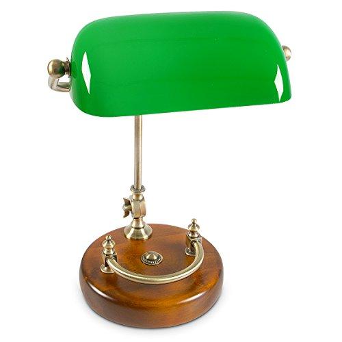 Glas Tisch Lampe (Relaxdays Bankerlampe grün mit verziertem Holzfuß – Retro Tischlampe grüne Schreibtischlampe Bibliotheksleuchte Banker Lampe im 20er Jahre Dekor – Farbe: Grün, Messing, Holz – Maße ØH: ca. 20, 40 cm)