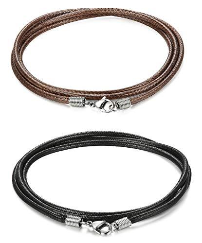 Adramata 2 Piezas 3MM Collar de Cadena de Cuero para Hombres, Mujeres, Collar Trenzado, 20-30 Pulgadas