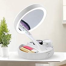 AxssjS - Espejo de Maquillaje Plegable con luz LED de Doble Cara y Carga USB