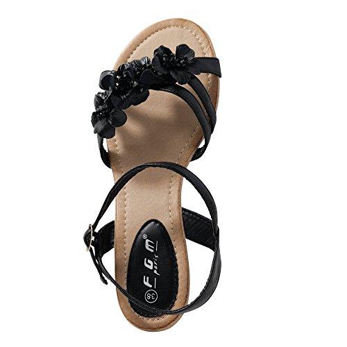 Damen Sandalen Sandaletten Blume Keilabsatz Glitzer ST105 Dunkelblau