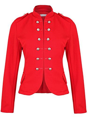 Damen Blazer Militäry Style ( 514 ), Farbe:Rot, Kostüme & Blazer für Damen:42 / XL