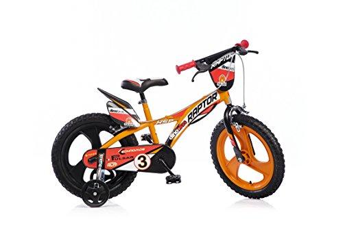 Jungen Kinderfahrrad orange Raptor Jungenfahrrad - 16 Zoll | TÜV geprüft | Original | Kinderrad mit Stützrädern - Das Fahrrad als Geschenk für Jungen