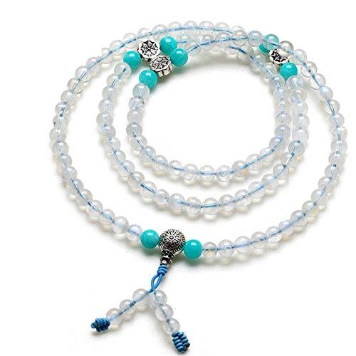 Kind of blue moon stone de glace naturelle108 Bracelet de perles de prière bouddhiste/ Pierre de l'amour F