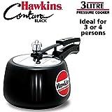 Hawkins Contura Hard Anodised Aluminium Pressure Cooker, 3 Litres, Black