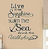 Sticker muralSunshine Swim Sea devis de salle de bains Wall Art Stickers Stickers Vinyle Home Decor73X89cm...