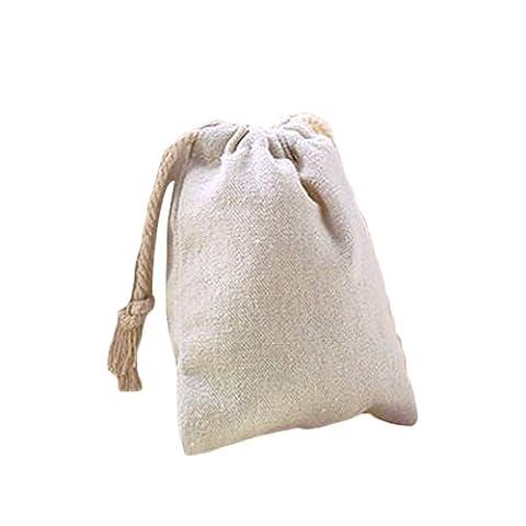 Tsacte Couleur naturelle avec cordon en coton Sacs avec cordon de serrage dans un choix de taille, (lot de 12),