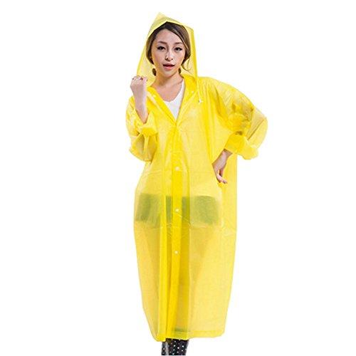 Rokoo Imperméable,Mode Femmes EVA Transparent Imperméable Poncho Portable Environnementale Imperméable Légère Longue Utilisation Pluie Manteau Jaune