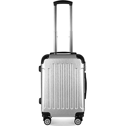 PRASACCO Koffer Handgepäck, überlegen Trolley Leichtgewicht ABS Hartschale Hartschalenkoffer Handgepäck mit 4 Rollen 55x40x23 Klein Silber