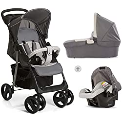 Hauck Shopper SLX Trio Set Pushchair up to 25 kg + Group 0 Car Seat + Carrycot, Mattress from Birth, Buggy with Lying Function, Cup Holder, Large Basket, Small Folding - Grey