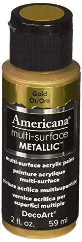 Artdeco DecoArt Americana–Multi Superficie Satinado metálico Botella Pintura, acrílico, Oro, 3x 3x 7cm