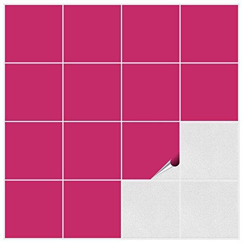 FoLIESEN Fliesenaufkleber für Bad und Küche - 15x15 cm - pink matt - 50 Fliesensticker für Wandfliesen