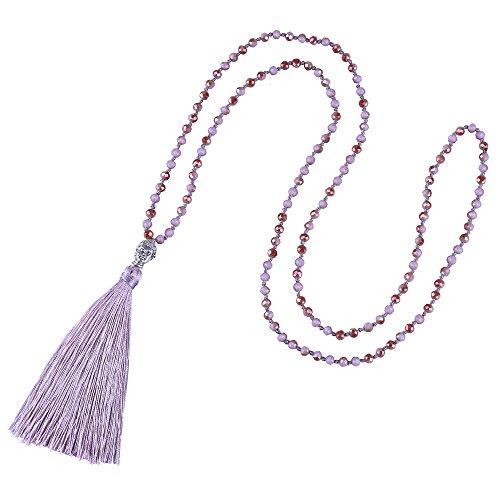 KELITCH Tasselkette Kristall Perlen Damen Lange Kette mit Buddha-Kopf Quaste Anhänger (Helles Lila)