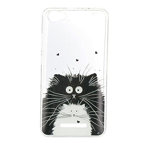 Sunrive® Coque Pour Wiko Jerry, Housse Étui Etui Protecteur Protection souple Ultra Mince transparent TPU Gel Silicone Cover Case(tpu Black blanc cat)+ STYLET OFFERTS