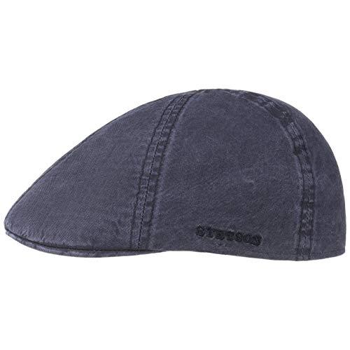 Stetson Texas Organic Cotton Flatcap | Flat Cap Herren | Nachhaltige Schiebermütze | Baumwollcap mit UV-Schutz (40+) | Herrencap Frühjahr/Sommer | Schieberkappe blau XL (60-61 cm)