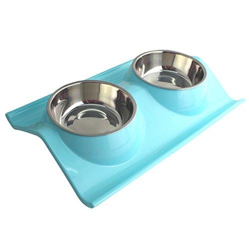 GoGou haustiere Durable Doppel-Edelstahl-Hundeschüssel Feeder Bowl Pet Bowl Set mit No Spill Non-Skid für Welpen Kleine Medium Hunde Katzen (Blue) (Welpen Zubehör)