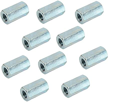 Long hexagon nut studding connectors for joining lengths of studding or continuous threaded rod BZP (Pack of 10) (M6)