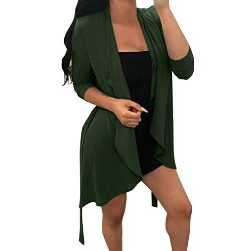 Sunday Frauen Langarm Chiffon Unregelmäßige Kragen Strickjacke Mantel Tops Lange Ärmel Kragen Umdrehen 1 Cardigan + 1 Gürtel