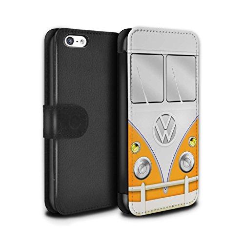 STUFF4 PU-Leder Hülle/Case/Tasche/Cover für Apple iPhone 6 / Rot Muster / VW Campingbus Kollektion Orange