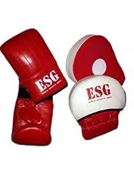 ESG - Juego de Guantes y Almohadillas de Entrenamiento Profesionales de Cuero Auténtico Calidad Superior - Color Rojo - Chica