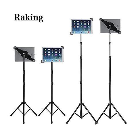 Raking Support de fixation avec trépied pliant pour tablette, iPad, iPad mini et bien d'autres appareils compris entre 7 et 10'', housse de transport incluse et lampe de poche en cadeau