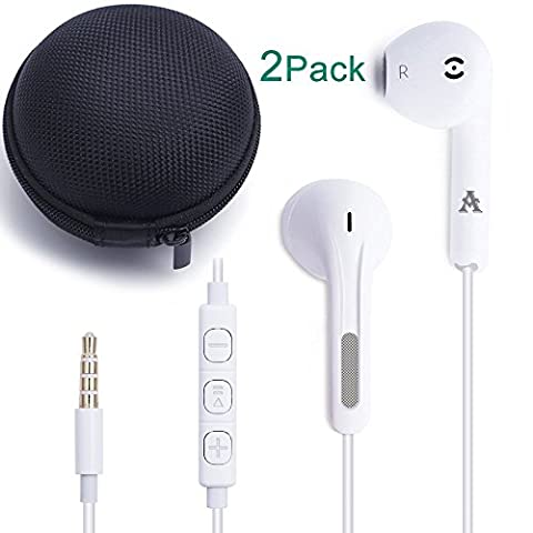 JJCall (2 Pack) Premium Earphones / Headphones / Earbuds / Headset with Stereo Mic&Remote Control for Apple iPhone 6s/6/6plus,iPhone SE/5s/5c/5, iPad /iPod and More (White)