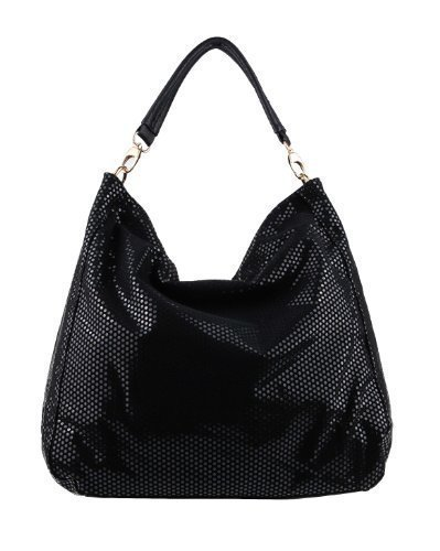 Print Hobo Bag Handtasche (OBC ital-design moderne Damen Shopper DIN-A4 Tasche verwandelbar Nieten Beuteltasche Hobo-Bag Schultertasche Clutch Umhängetasche Damenhandtasche Handtasche 38x40x7 cm (BxHxT) (Schwarz))