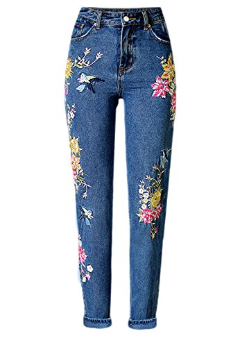 YACUN Damen Blumen Bestickt Hohe Taille Knöchel Jeans Hose DarkBlau L (Blume Bestickt Hose)