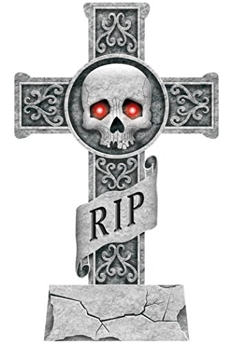 Halloween Tombstone Decoration~24 Light Up Tomb Stone Cross Skull RIP~Stake Included by Amscan