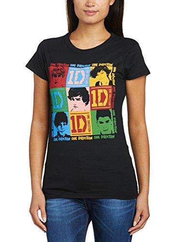 Womens-girlie Girl Tee (One Direction Damen Womens 9 Squares (Small) T-Shirt, Schwarz, 34 (Herstellergröße:Small))